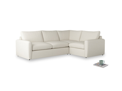 Large right hand Chatnap modular corner storage sofa in Chalky White Clever Softie with both arms