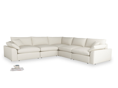 Even Sided Cuddlemuffin Modular Corner Sofa in Chalky White Clever Softie