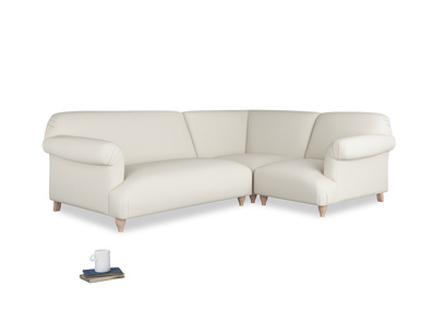 Large right hand Soufflé Modular Corner Sofa in Chalky White Clever Softie with both arms