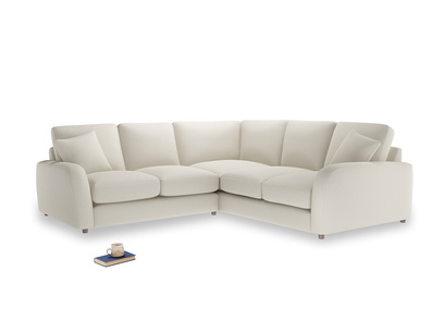 Even Sided Easy Squeeze Corner Sofa in Chalky White Clever Softie