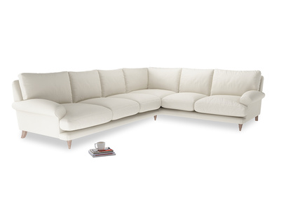 Xl Right Hand Slowcoach Corner Sofa in Chalky White Clever Softie