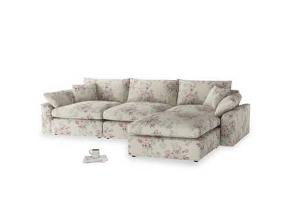 Large right hand  Cuddlemuffin Modular Chaise Sofa in Pink vintage rose