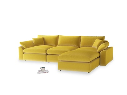 Large right hand  Cuddlemuffin Modular Chaise Sofa in Bumblebee clever velvet