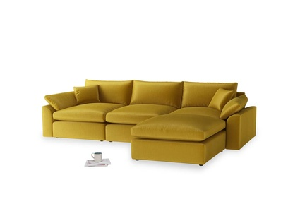 Large right hand  Cuddlemuffin Modular Chaise Sofa in Burnt yellow vintage velvet