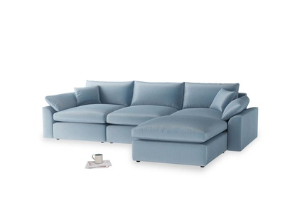 Large right hand  Cuddlemuffin Modular Chaise Sofa in Chalky blue vintage velvet