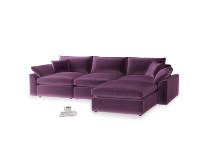 Large right hand  Cuddlemuffin Modular Chaise Sofa in Grape clever velvet