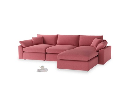 Large right hand  Cuddlemuffin Modular Chaise Sofa in Raspberry brushed cotton