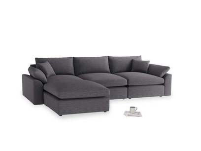 Large left hand Cuddlemuffin Modular Chaise Sofa in Lead cotton mix
