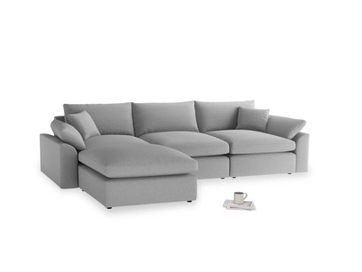 Large left hand Cuddlemuffin Modular Chaise Sofa in Magnesium washed cotton linen