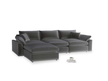 Large left hand Cuddlemuffin Modular Chaise Sofa in Steel clever velvet