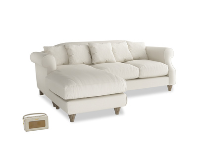 Large left hand Sloucher Chaise Sofa in Chalky White Clever Softie