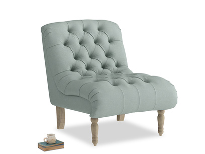 Scoop Armchair in Sea fog Clever Woolly Fabric