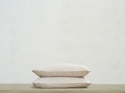 Tumbled Cotton Pillowcase in Stone Grey x2