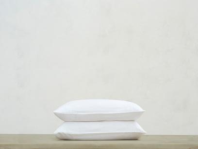 Tumbled Cotton Pillowcase in White x2