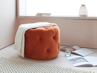 Gumdrop upholstered buttoned footstool