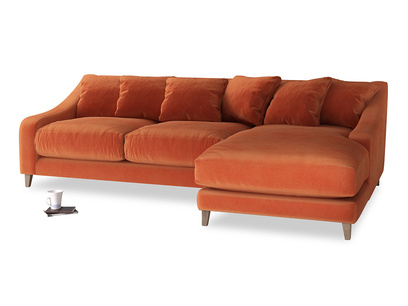 XL Right Hand  Oscar Chaise Sofa in Old Orange Clever Deep Velvet