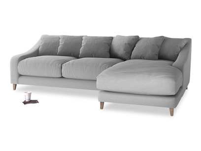 XL Right Hand  Oscar Chaise Sofa in Magnesium washed cotton linen