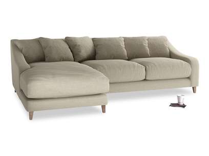 XL Left Hand  Oscar Chaise Sofa in Jute vintage linen