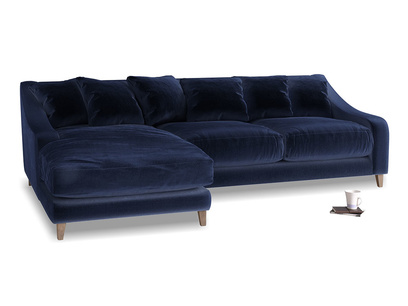 XL Left Hand  Oscar Chaise Sofa in Goodnight blue Clever Deep Velvet