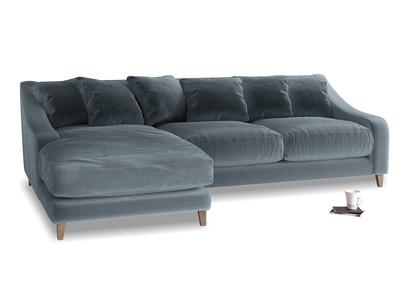XL Left Hand  Oscar Chaise Sofa in Mermaid plush velvet