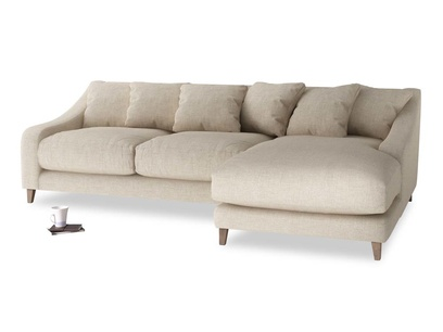 XL Right Hand  Oscar Chaise Sofa in Flagstone clever woolly fabric