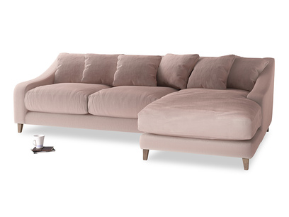 XL Right Hand  Oscar Chaise Sofa in Rose quartz Clever Deep Velvet