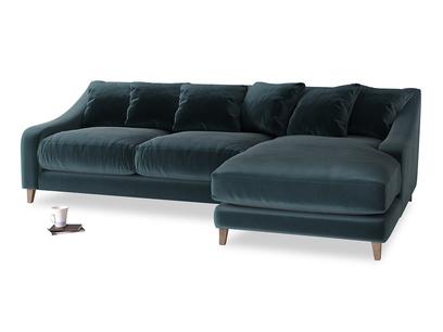 XL Right Hand  Oscar Chaise Sofa in Bluey Grey Clever Deep Velvet