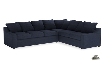 XL Right Hand Cloud Corner Sofa Bed in Seriously Blue Clever Softie