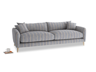 Large Squishmeister Sofa in Brittany Blue french stripe