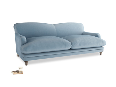 Large Pudding Sofa in Chalky blue vintage velvet