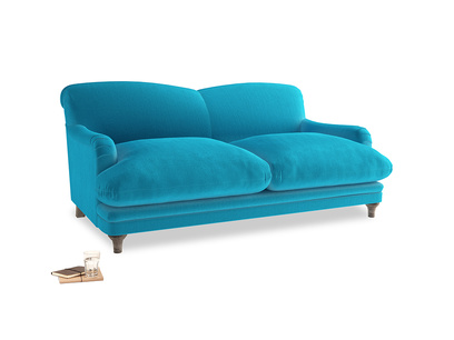 Medium Pudding Sofa in Azure plush velvet