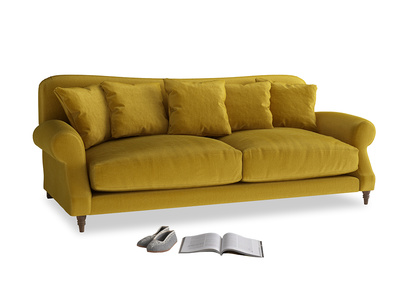 Large Crumpet Sofa in Burnt yellow vintage velvet