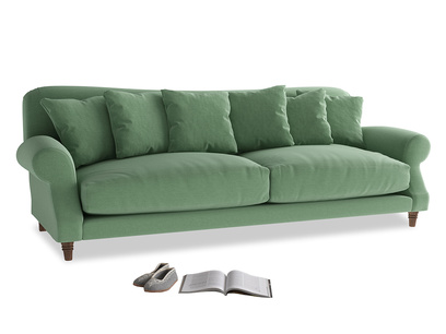 Extra large Crumpet Sofa in Thyme Green Vintage Linen