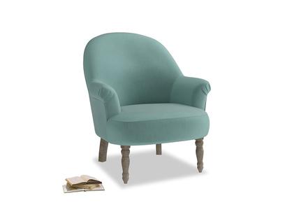 Munchkin Armchair in Greeny Blue Clever Deep Velvet