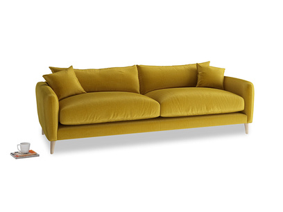 Large Squishmeister Sofa in Burnt yellow vintage velvet