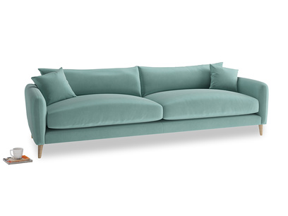 Extra large Squishmeister Sofa in Greeny Blue Clever Deep Velvet