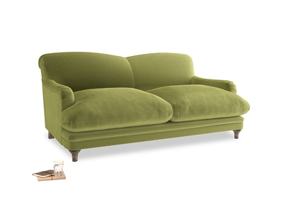 Medium Pudding Sofa in Olive plush velvet