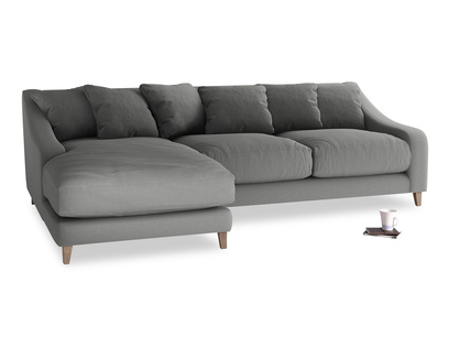 XL Left Hand  Oscar Chaise Sofa in French Grey brushed cotton