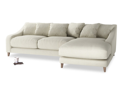 XL Right Hand  Oscar Chaise Sofa in Stone Vintage Linen