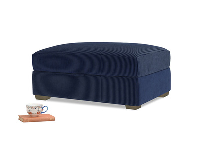 Bumper Storage Footstool in Indian Blue Clever Cord