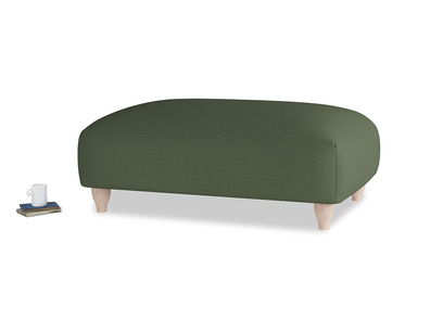 Soufflé Footstool in Forest Green Clever Linen