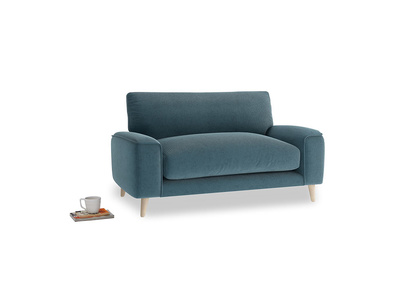 Strudel Love Seat in Lovely Blue Clever Cord