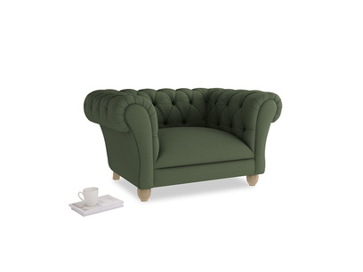 Young Bean Love seat in Forest Green Clever Linen