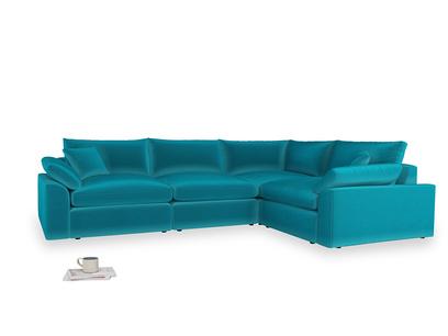 Large right hand Cuddlemuffin Modular Corner Sofa in Pacific Clever Velvet