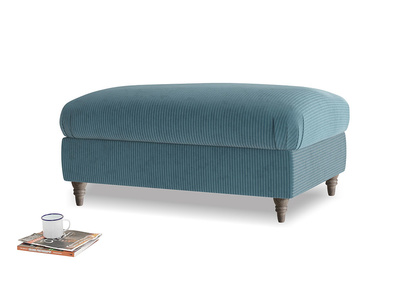 Rectangle Flatster Footstool in Lovely Blue Clever Cord
