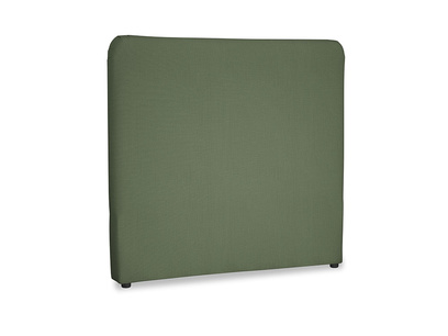 Double Ruffle Headboard in Forest Green Clever Linen