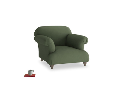 Soufflé Armchair in Forest Green Clever Linen