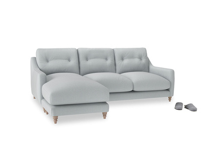 Large left hand Slim Jim Chaise Sofa in Gull Grey Bamboo Softie
