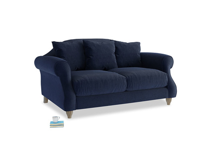Small Sloucher Sofa in Indian Blue Clever Cord