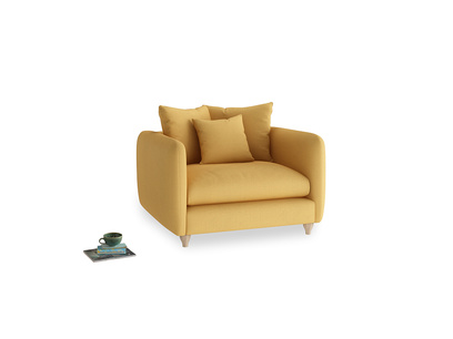Podge Love Seat in Dorset Yellow Clever Linen